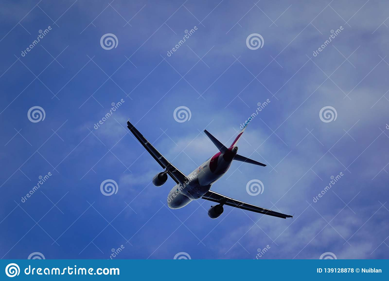 Santa Cruz de La Palma, Canary Islands, Spain; January 12th 2019: Eurowings airplane taking off La Palma Airport