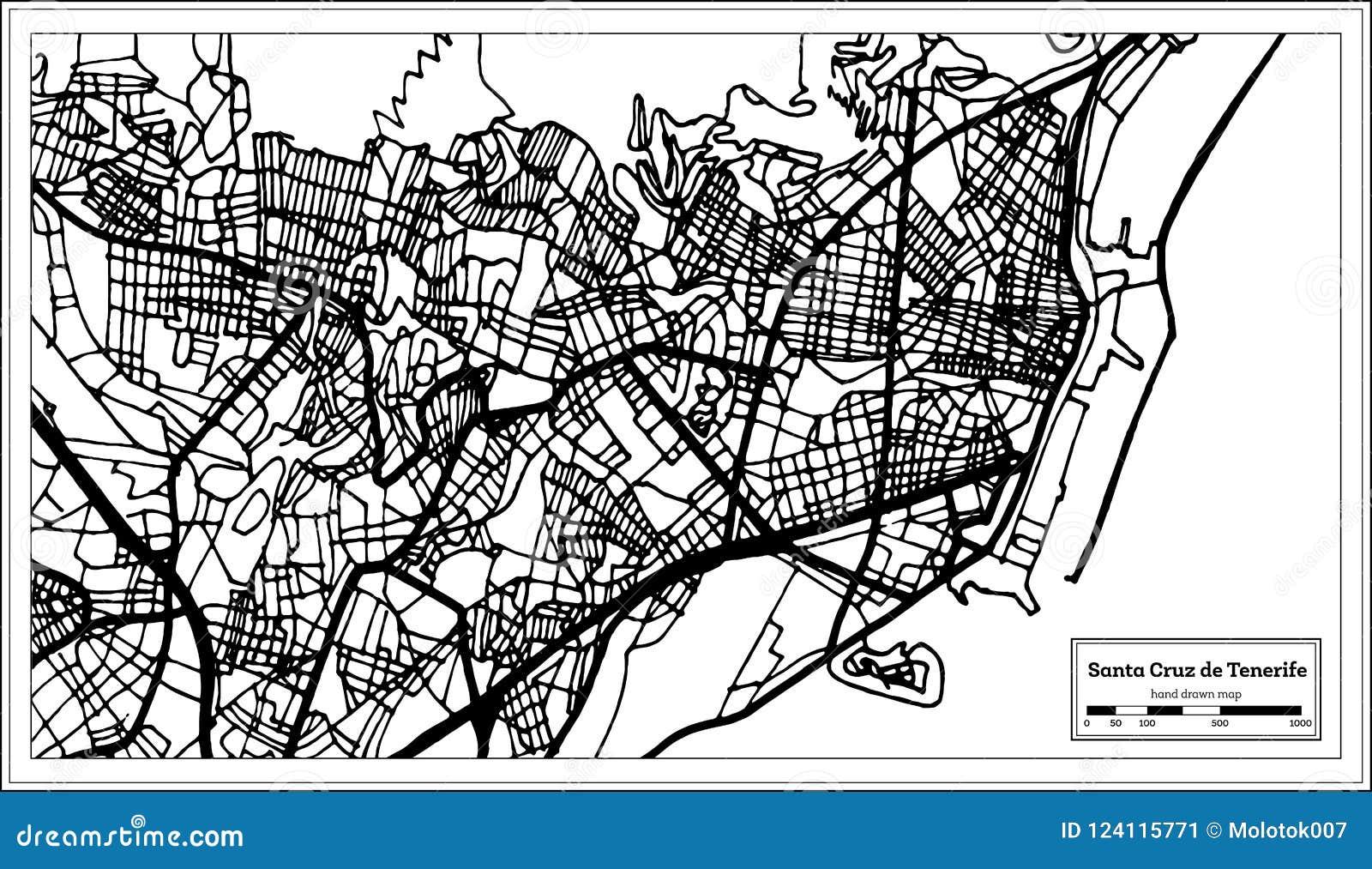 Map Of Spain Tenerife.Santa Cruz De Tenerife Spain City Map In Retro Style Outline Ma