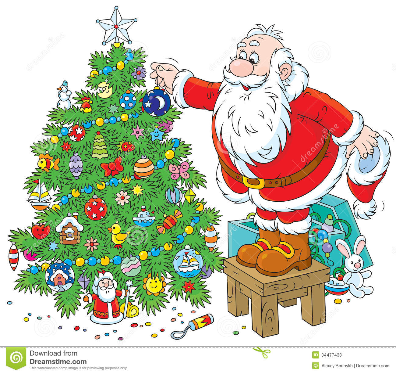 Christmas Decorations Background Pictures: Santa Decorates A Christmas Tree Stock Illustration