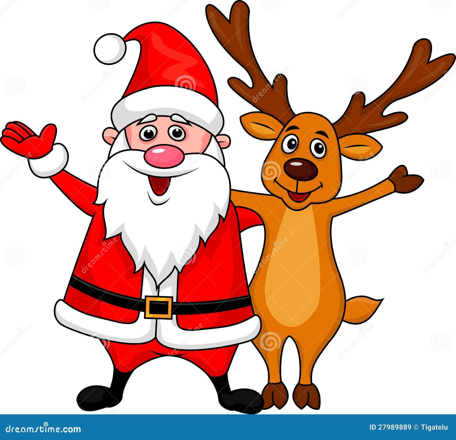 Santa And Deer Waving Royalty Free Stock Images Image