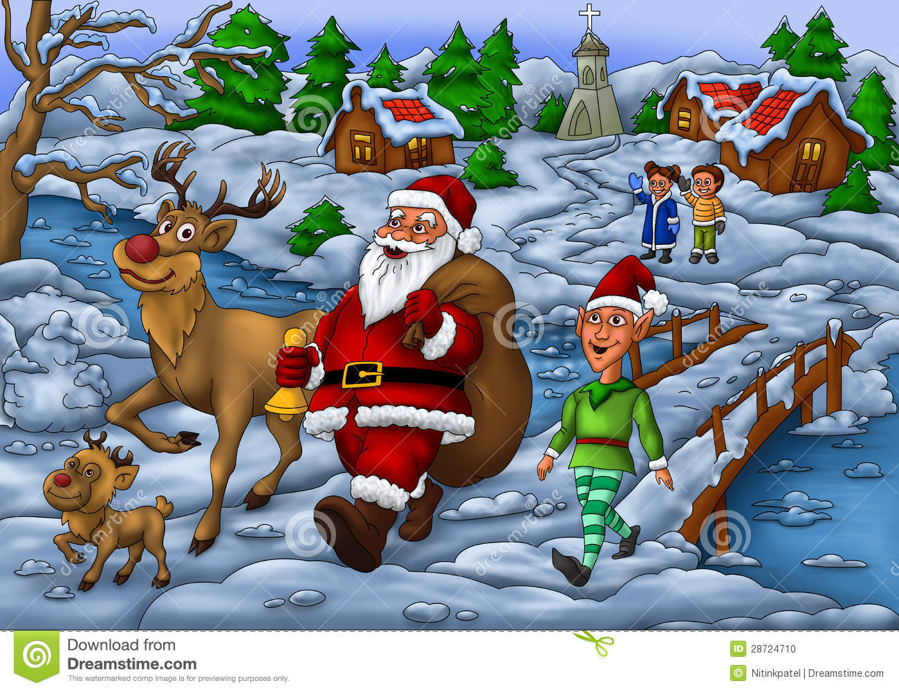 Santa Distributing Gift With Elf And His Rudolph Stock Illustration ...