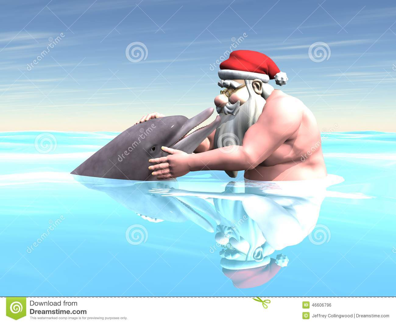 Santa With A Dolphin Stock Illustration Image 46606796
