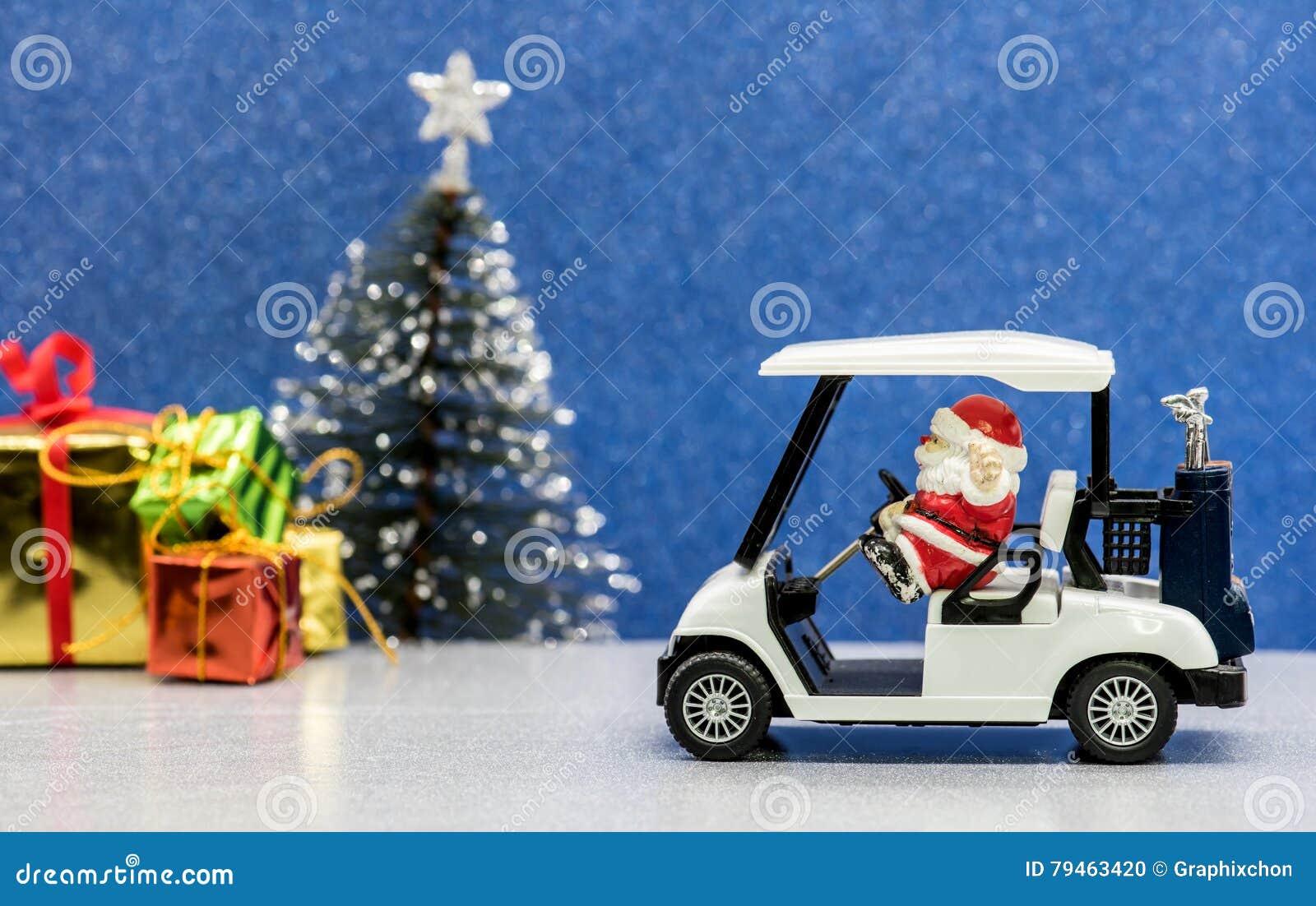 Golf Cart Christmas Decorations.Santa Driving Golf Car Christmas Party Stock Photo Image