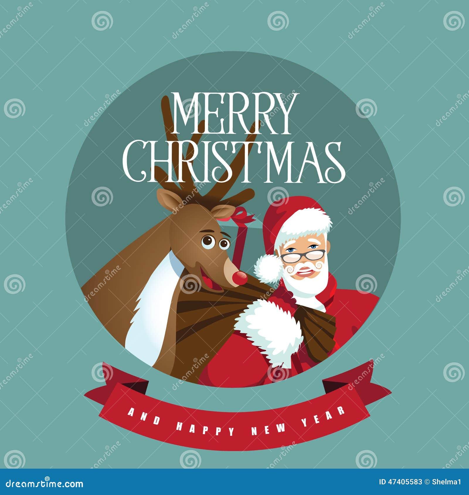 Santa e renna in un cerchio
