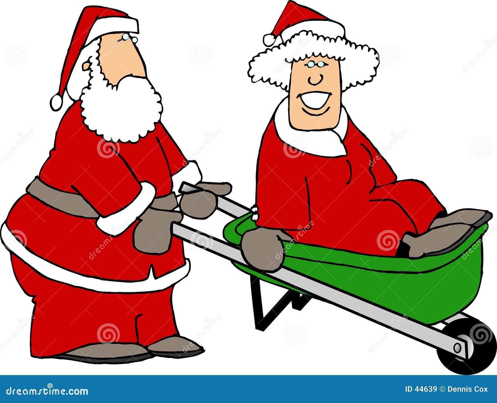 Santa e Sra. Claus que joga ao redor