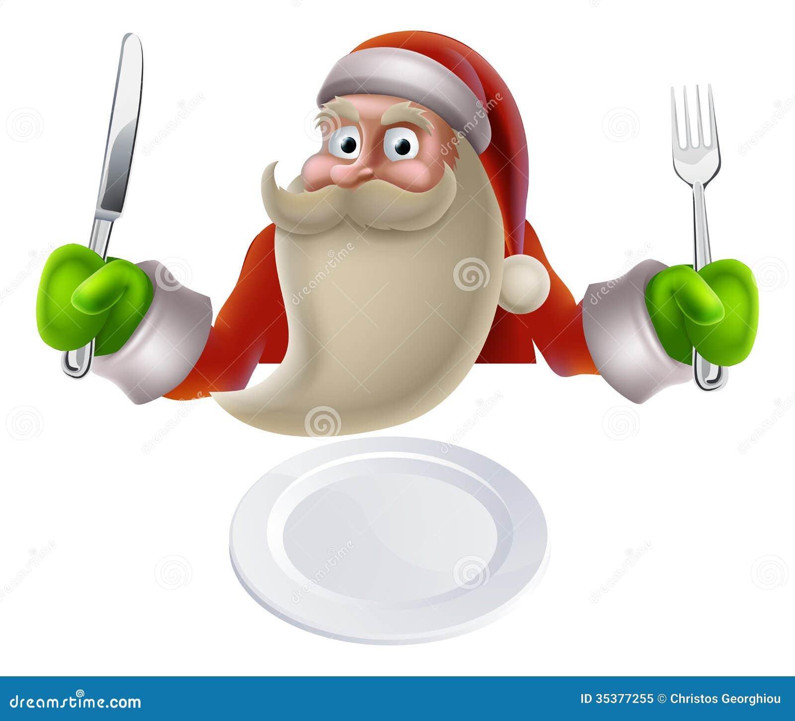 Santa eating Christmas dinner, cartoon Santa sat down with a knife and ...