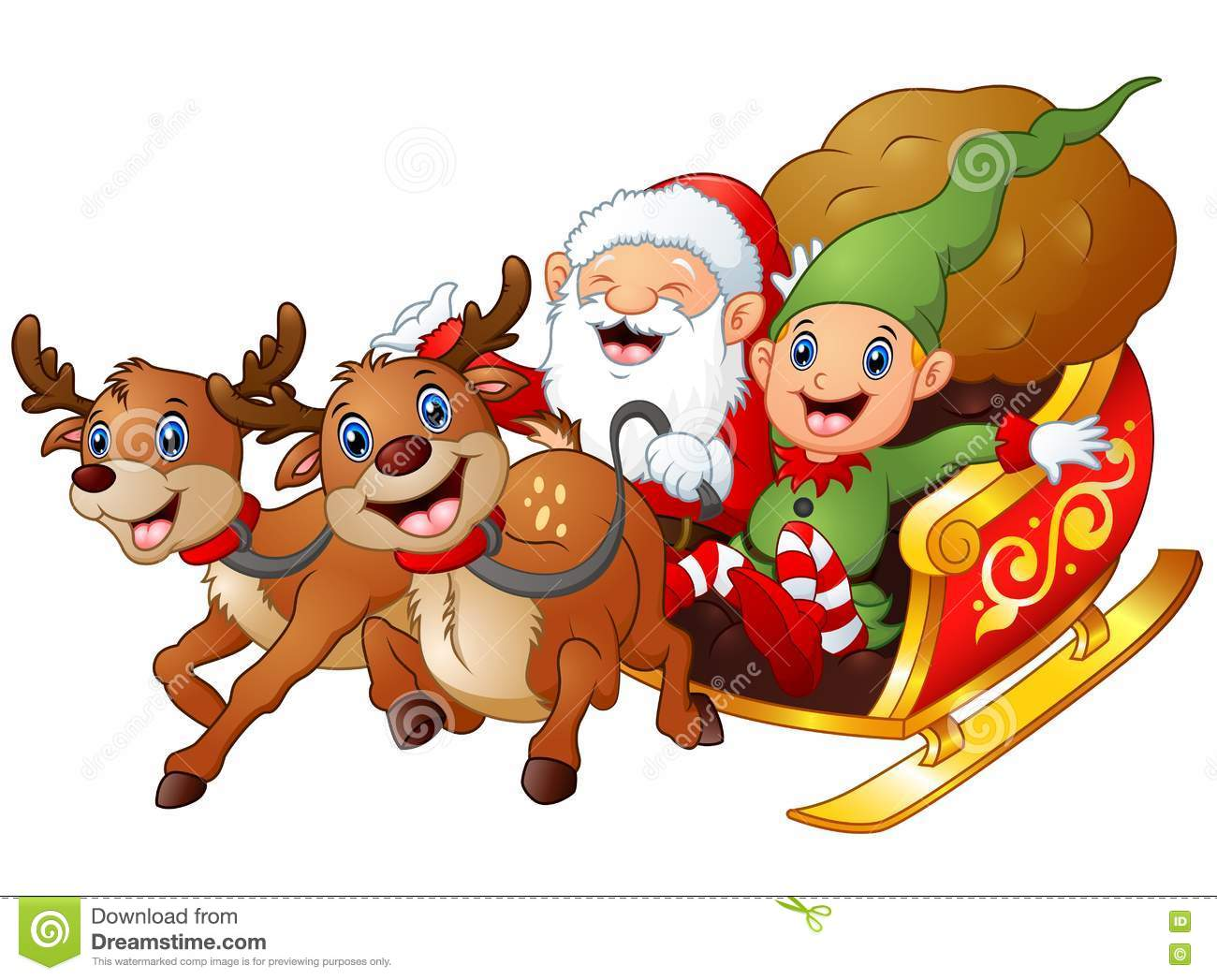 Santa and elf cartoon a riding in sled sleigh and gift bag with two reindeer