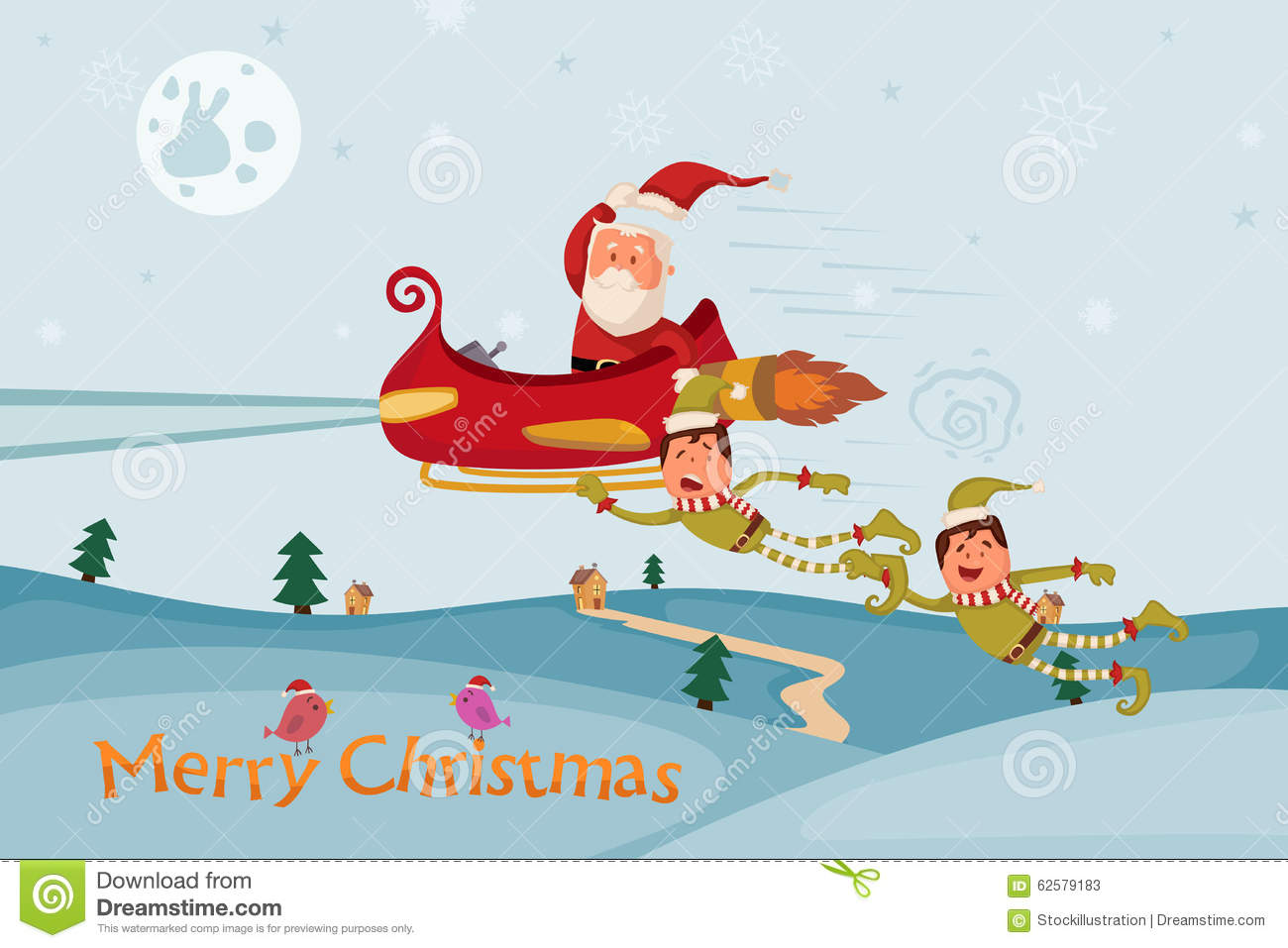 santa and elf flying in sleigh for merry christmas stock vector