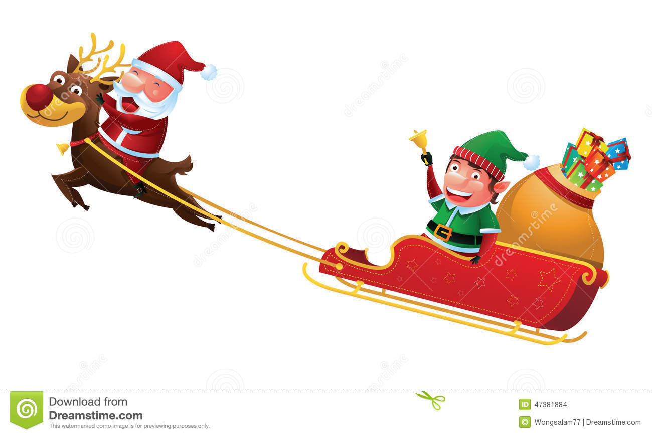 Santa And Elf Riding Reindeer Sleigh Stock Vector - Image: 47381884