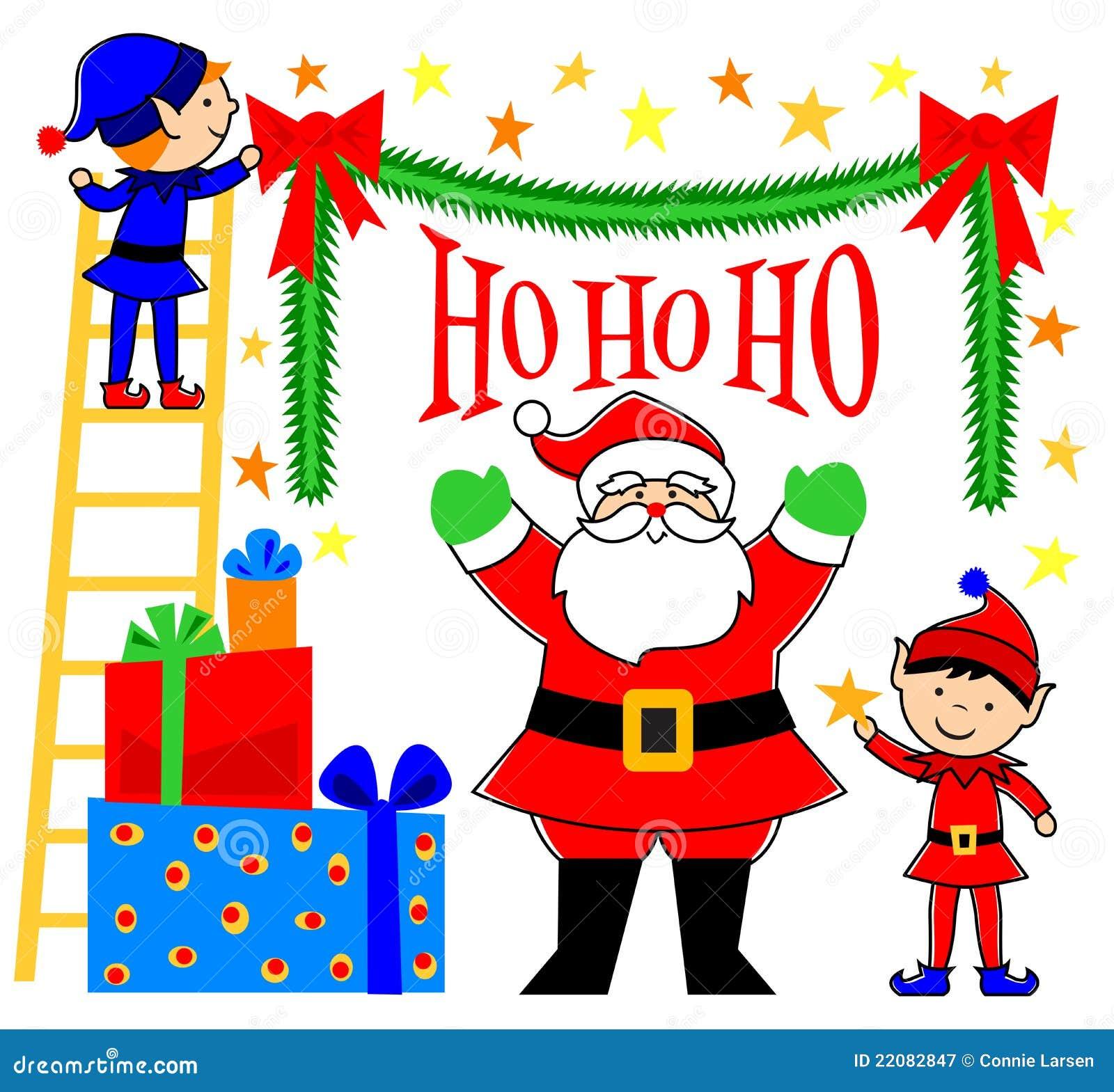 Santa And Elves Clipart Santa and elves decorating/eps
