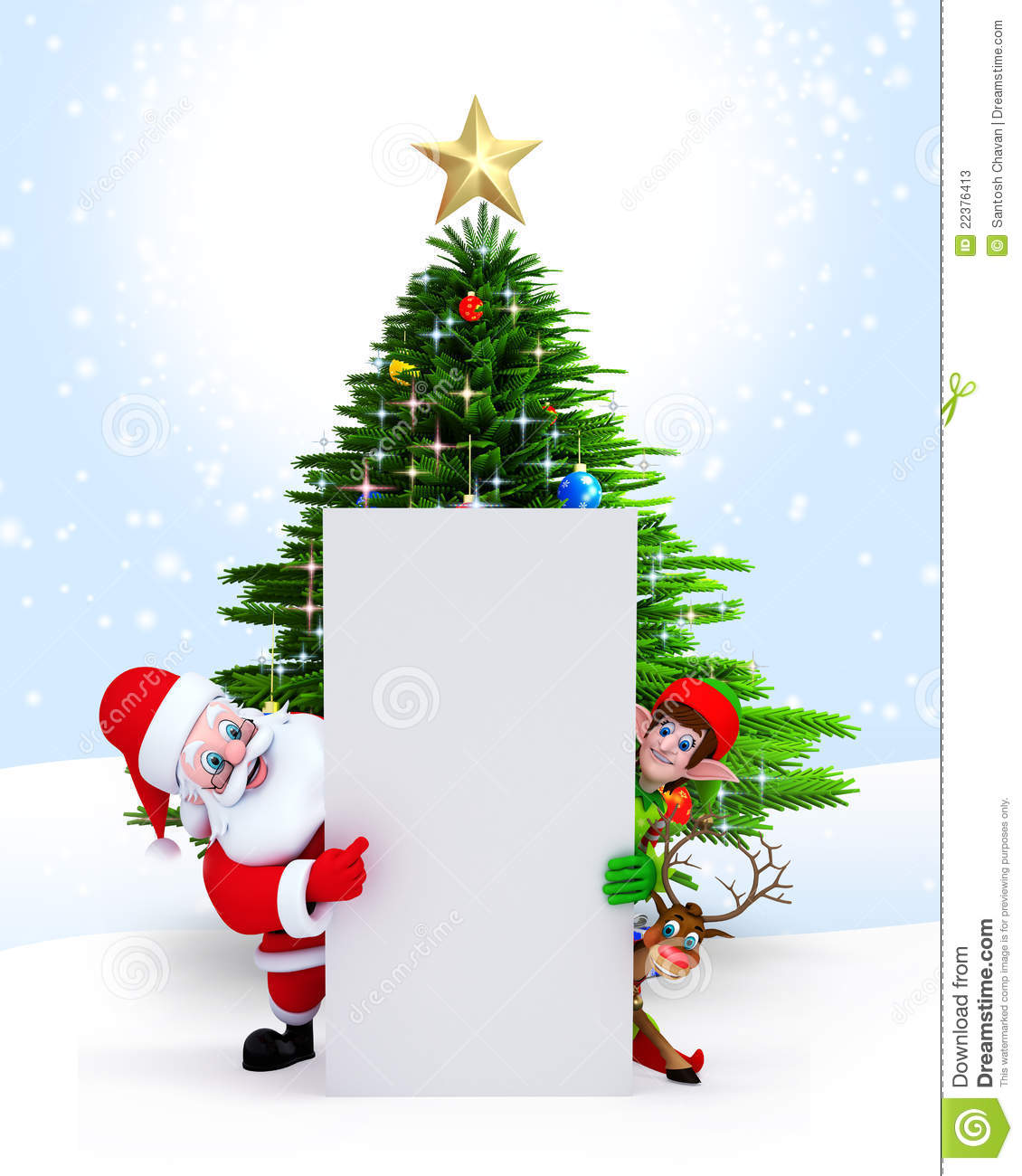 Santa Elves And Reindeer With Sign Stock Illustration