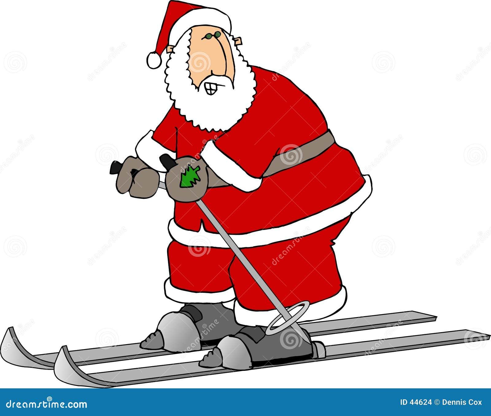 Santa em esquis