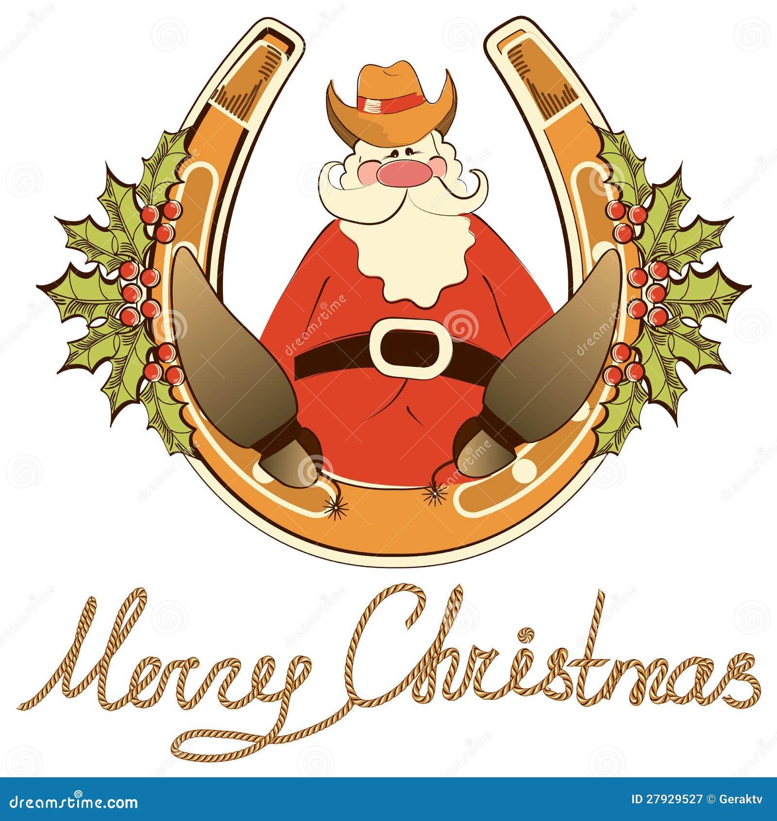 Santa em sapatas do cowboy senta-se na ferradura afortunada.