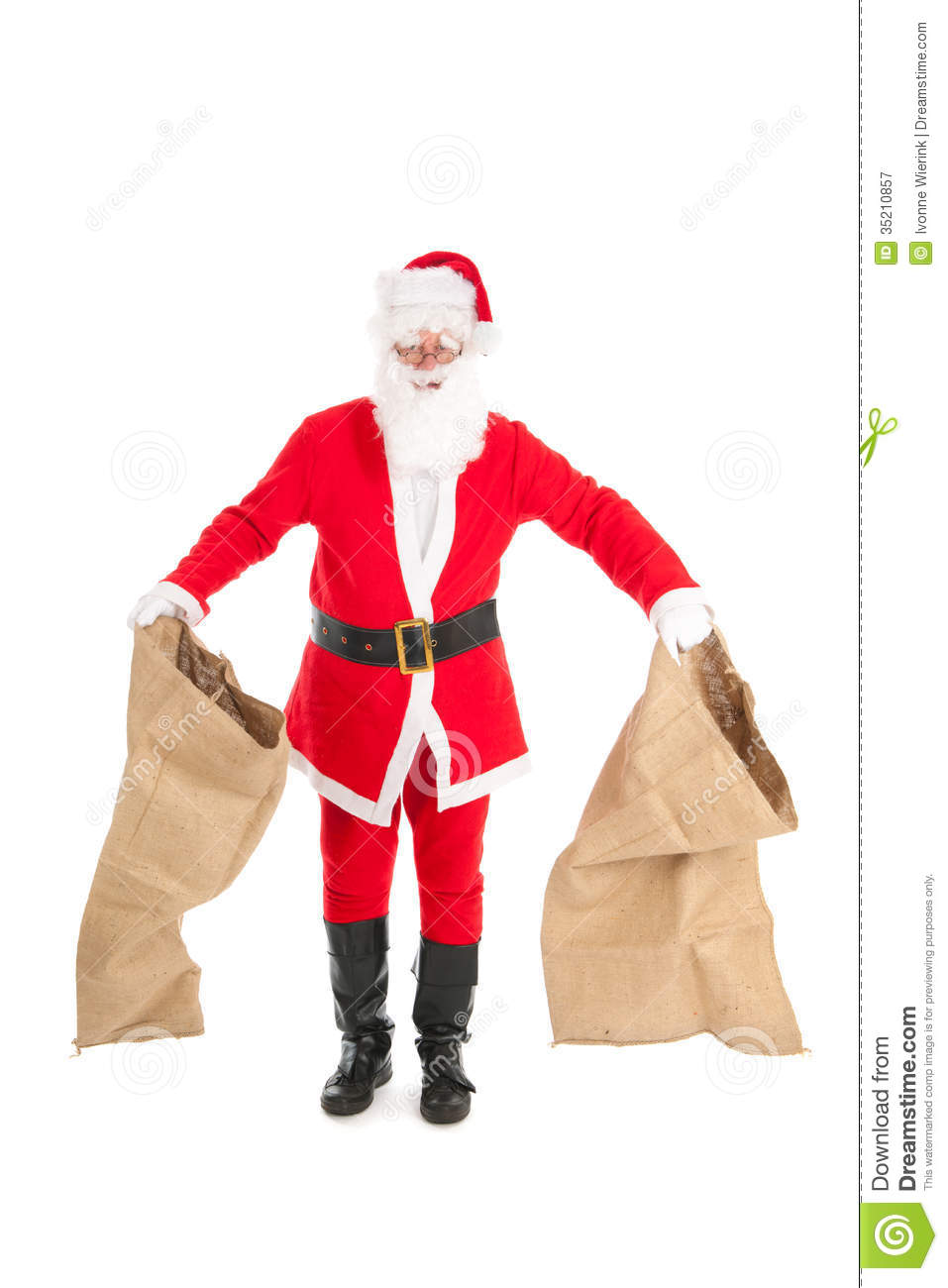 Santa with empty bags stock image of showing white