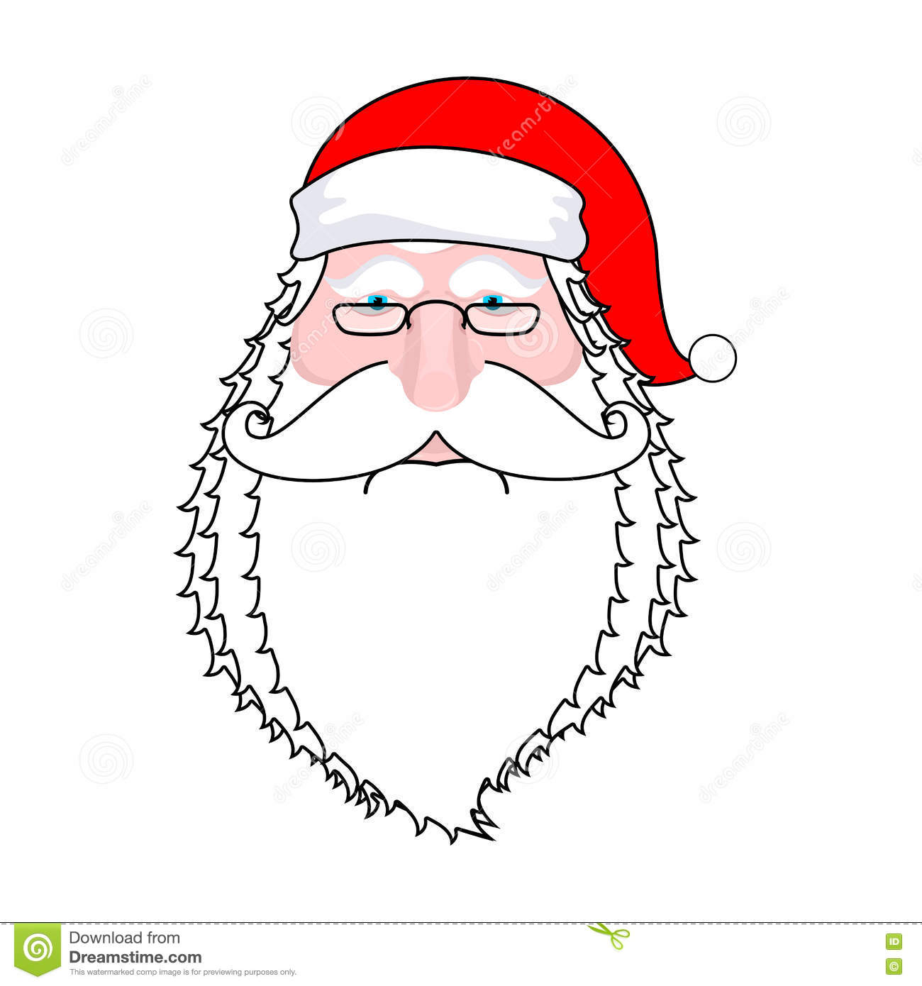 Santa Face Isolated. Beard And Mustache. Red Hat. Christmas Icon ...