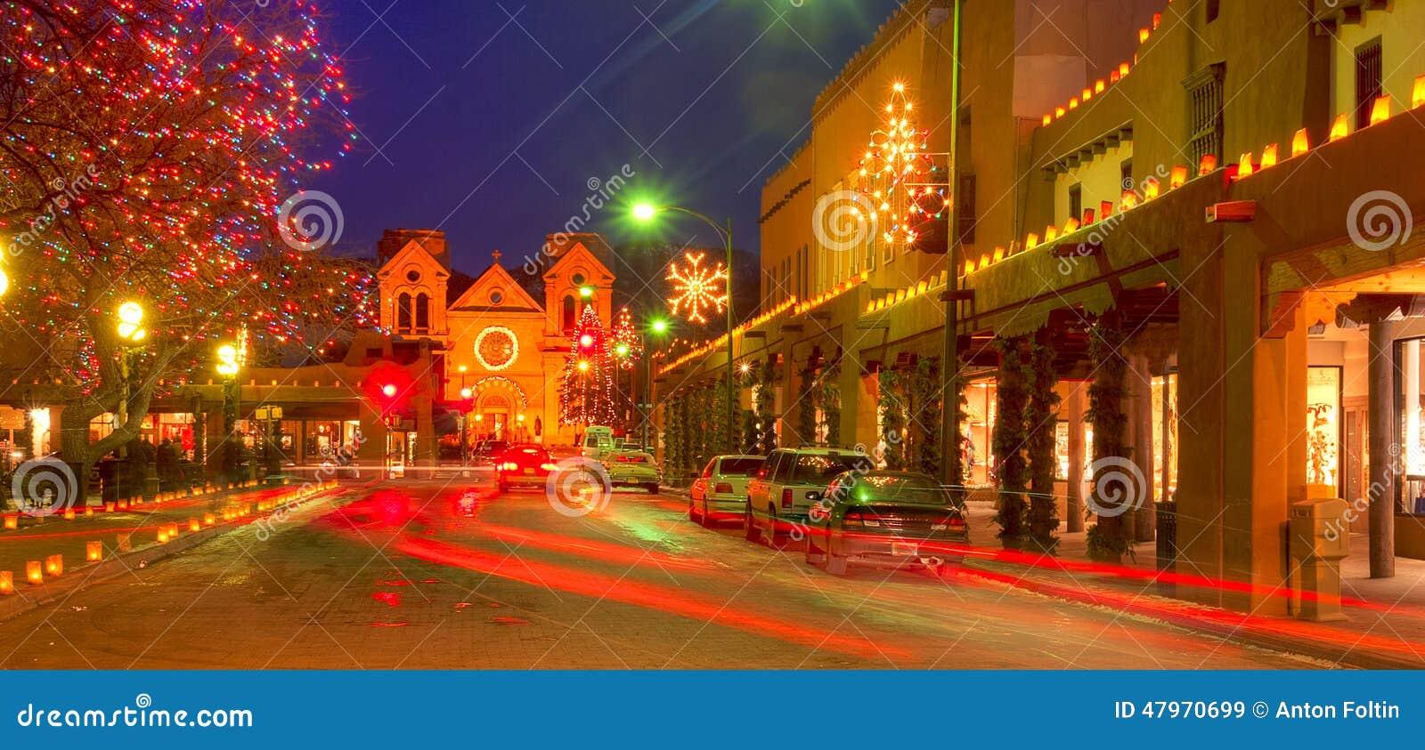 santa fe street with christmas lights - Christmas In Santa Fe