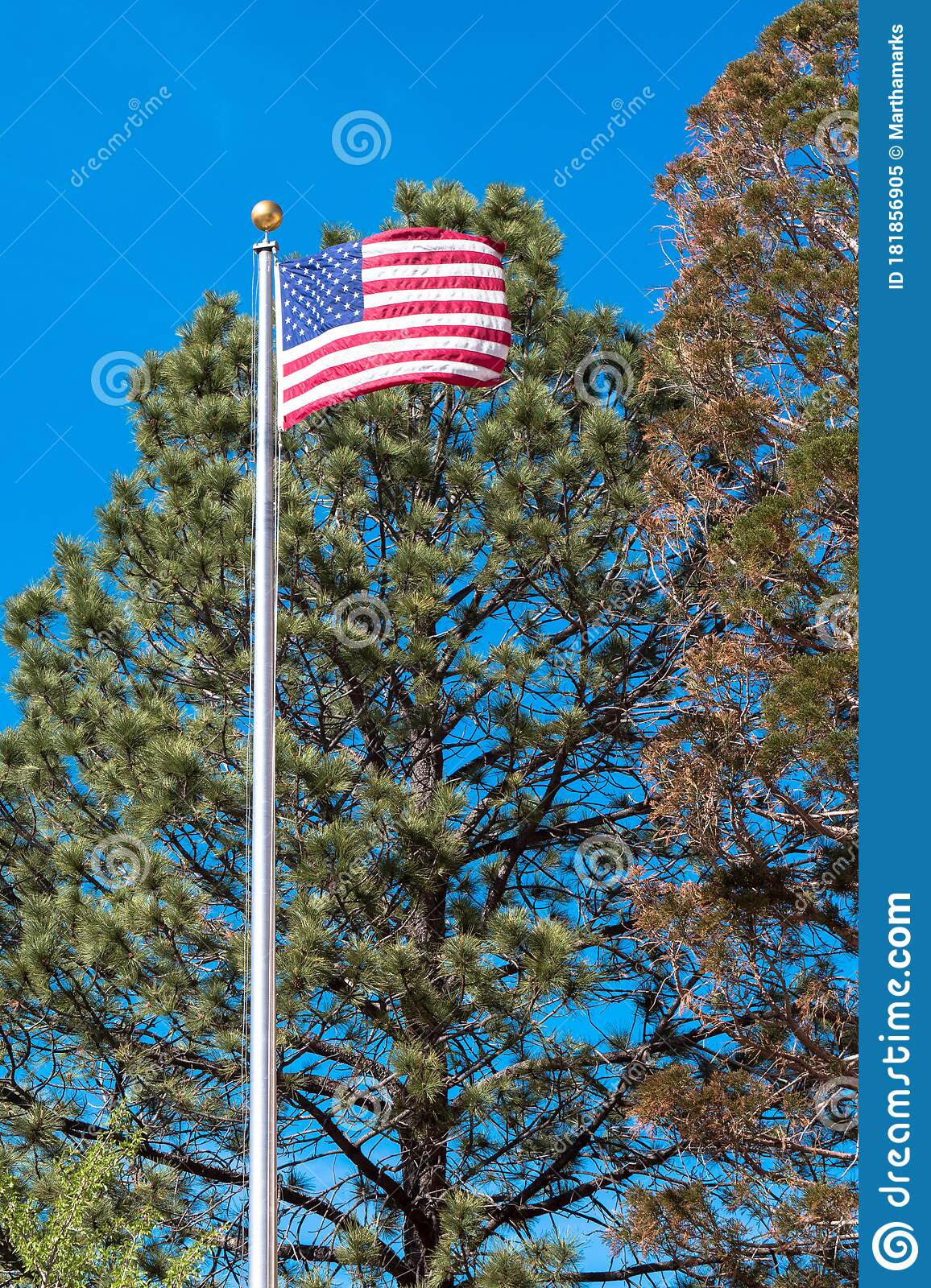 American Flag Flies Beside The Capitol Or Roundhouse In Santa Fe New Mexico Usa Stock Image Image Of Chapel America 181856905