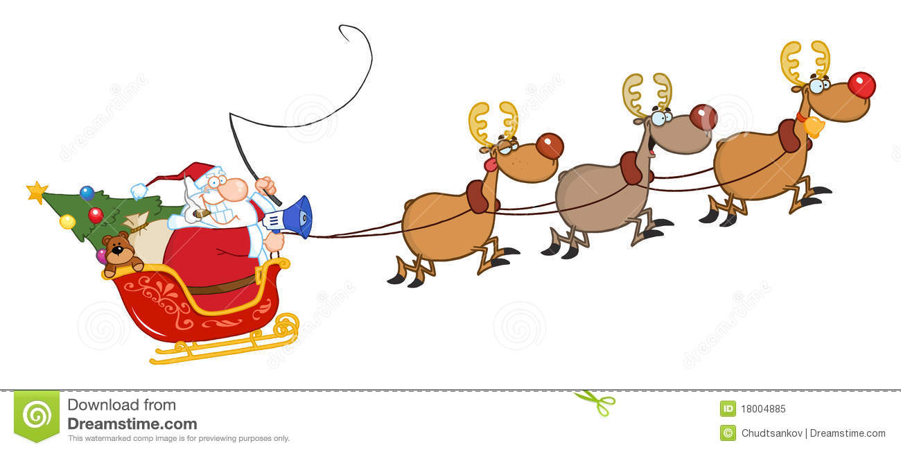santa claus and team of reindeer in his sleigh flying mr no pr no 4 ...