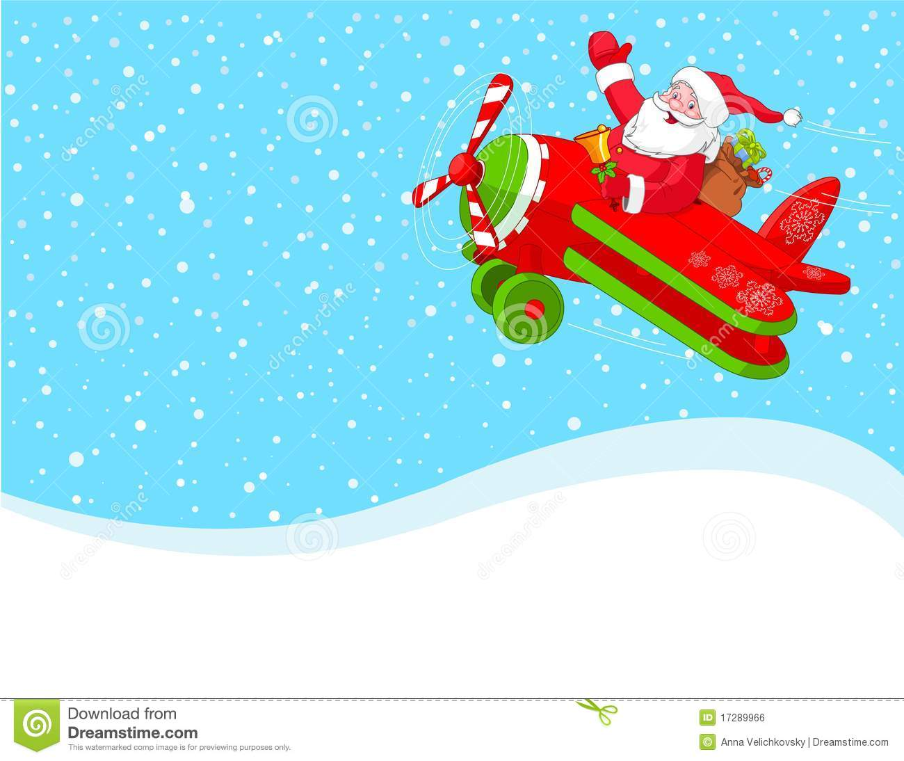 santa is flying in an airplane background stock vector