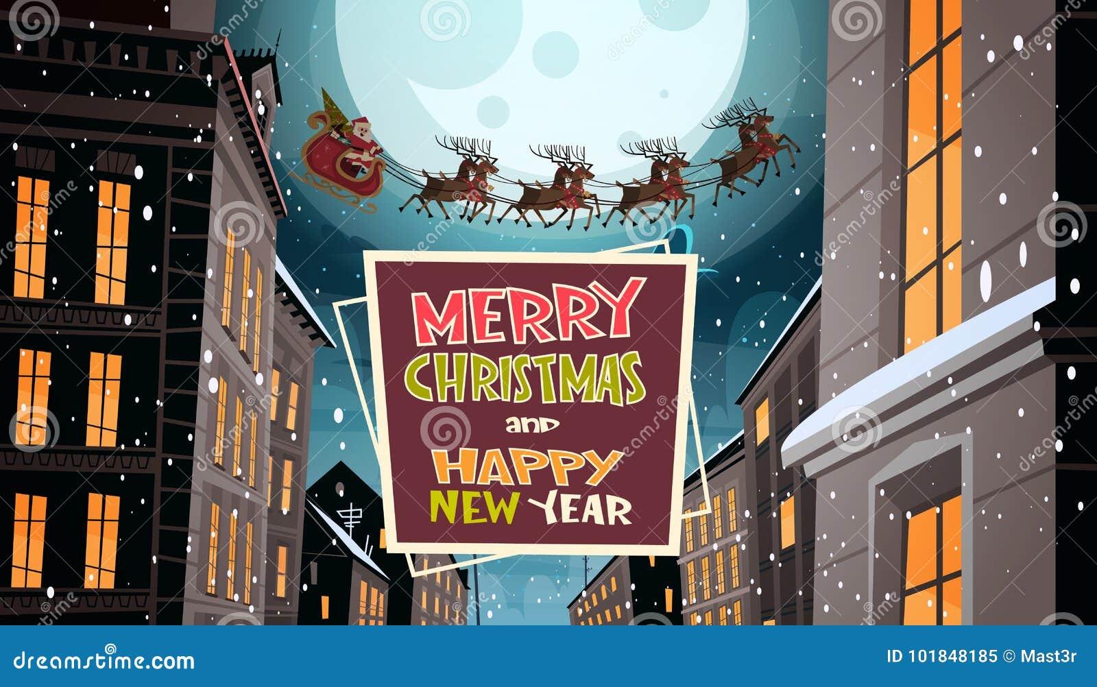 Santa Flying In Sleigh With-Rendieren in Nachthemel over Stad, Vrolijke Kerstmis en de Gelukkige de Kaartwinter van de Nieuwjaarg