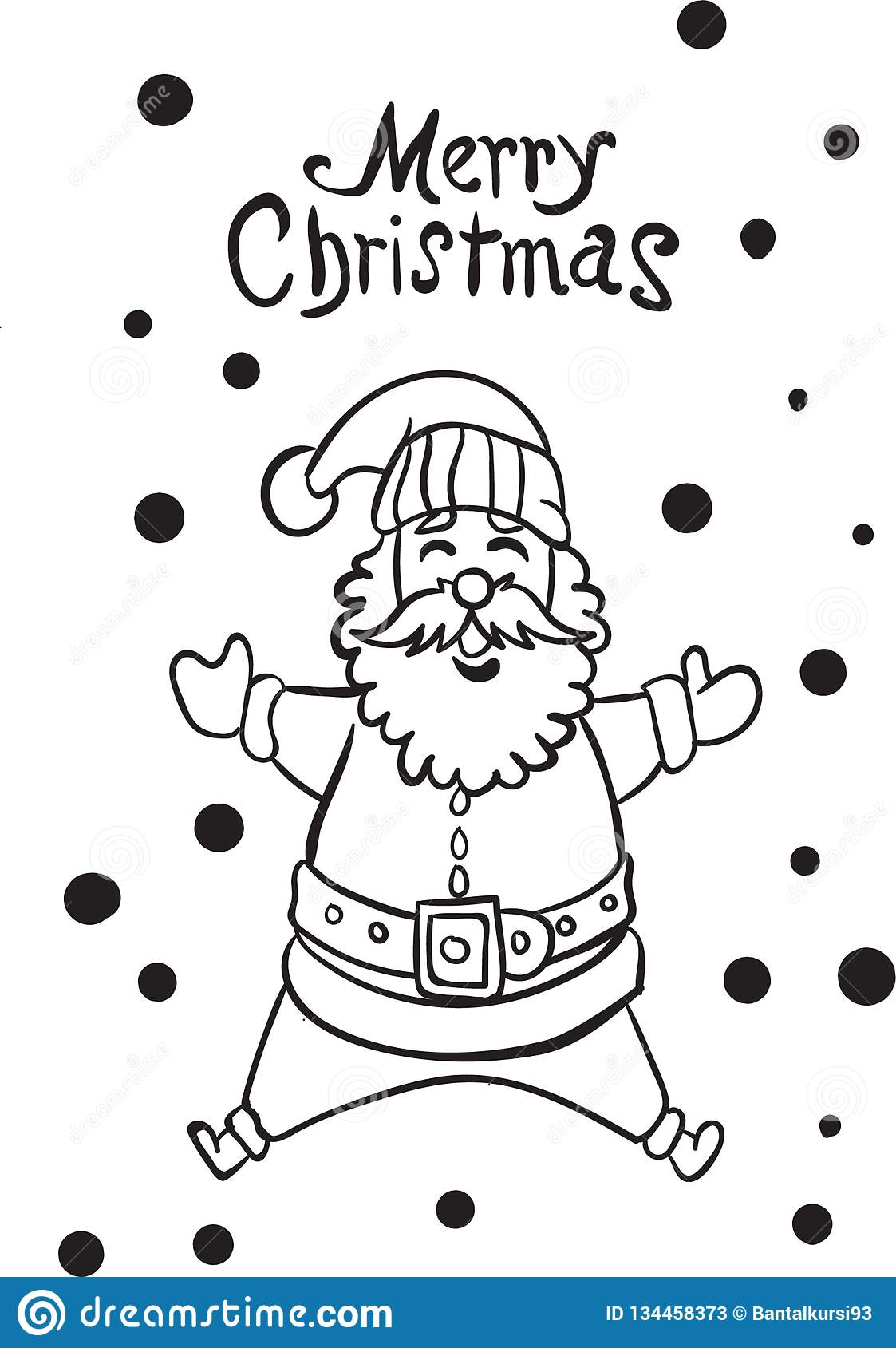 Santa Claus Jump Coloring Page Children Stock Vector ...