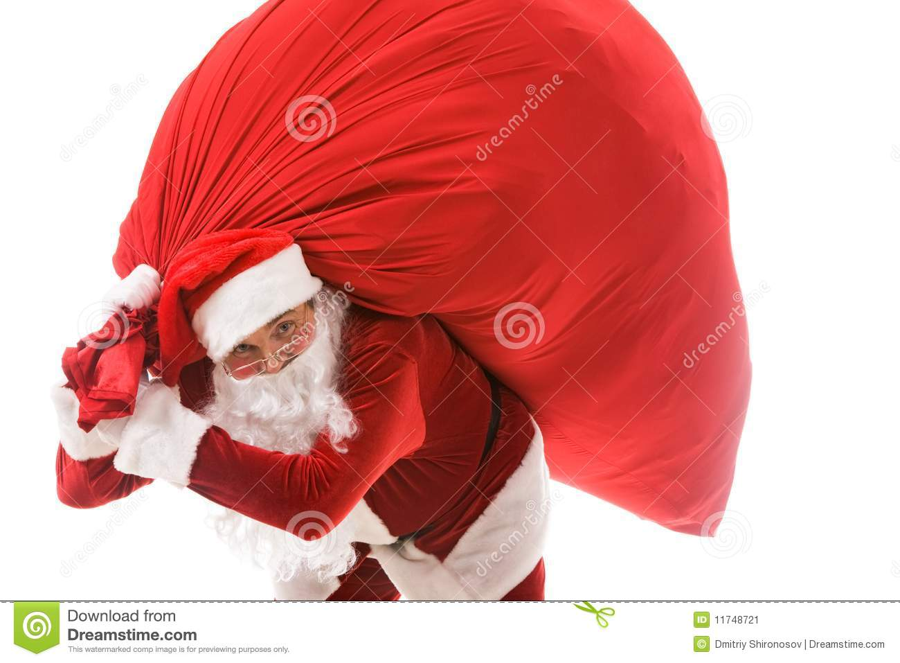 Santa with gifts stock image of expression heavy