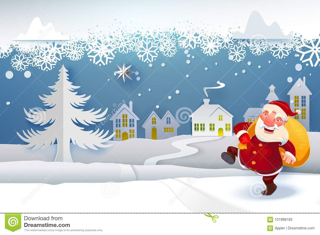 Santa with gifts going under snow