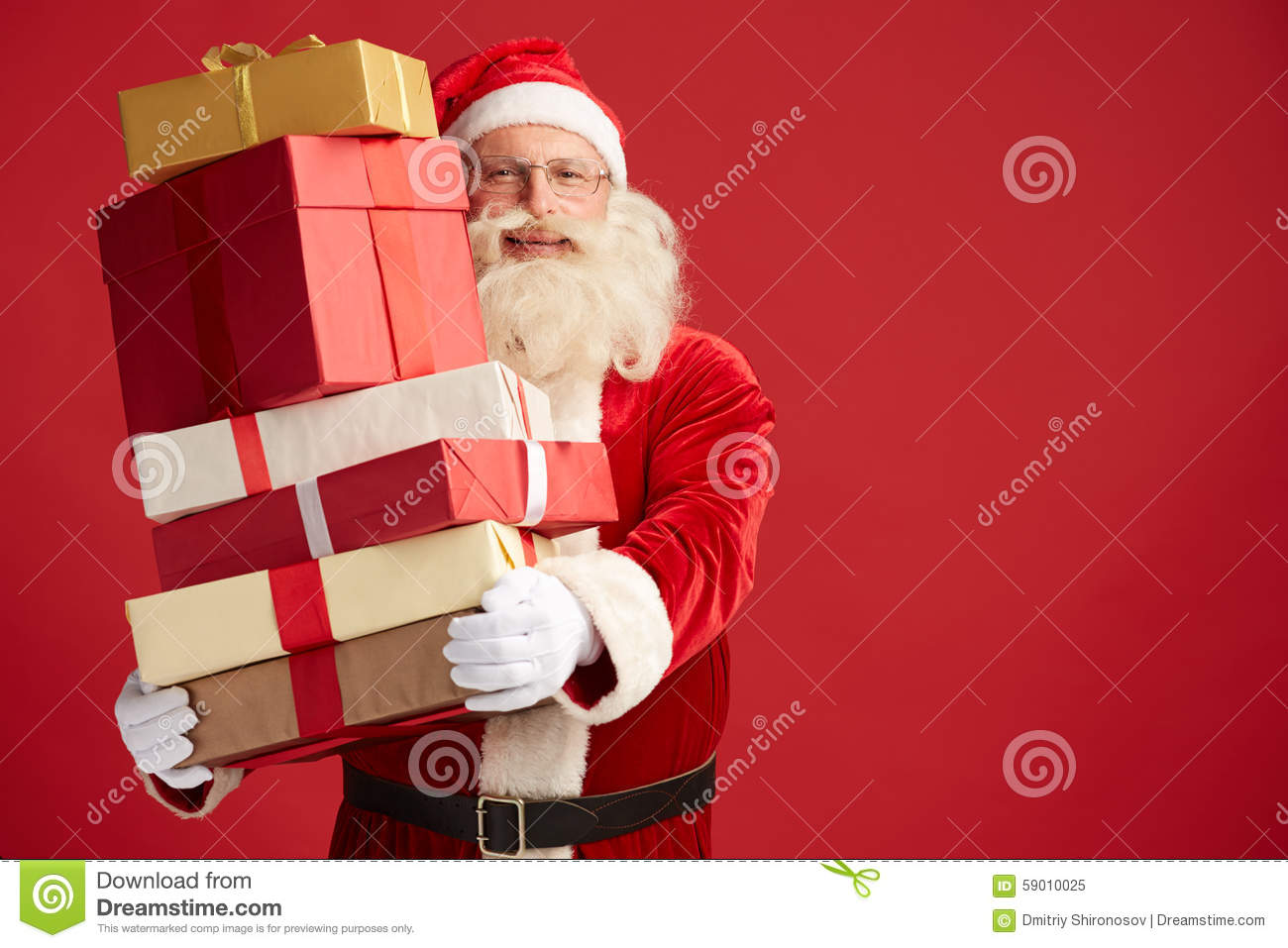 Santa with gifts stock photo image