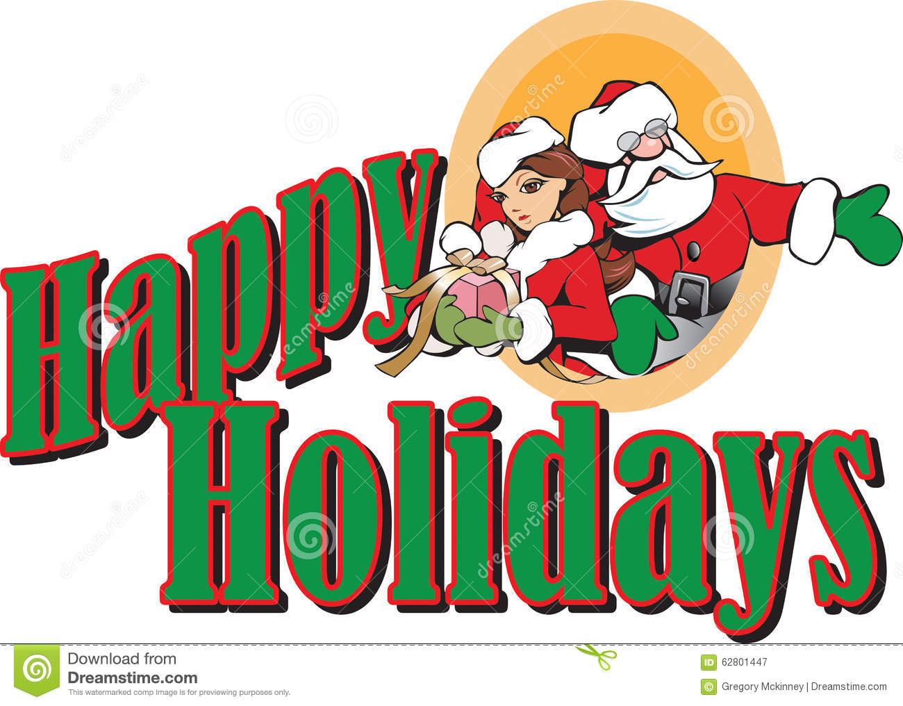 Santa And Girl Elf Happy Holidays Header Stock Illustration ...