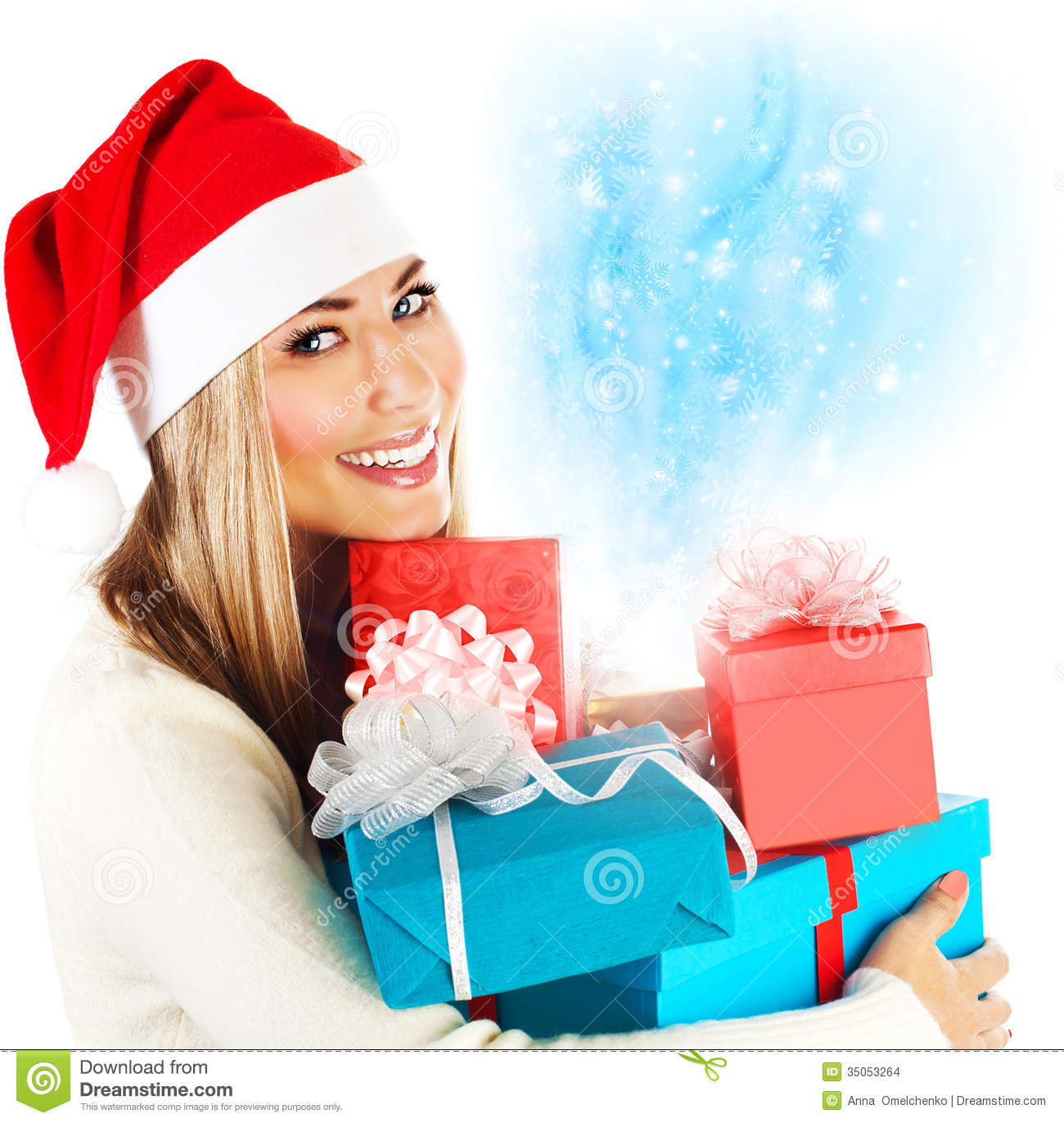 Santa girl with gifts stock photo. Image of claus, holiday ...