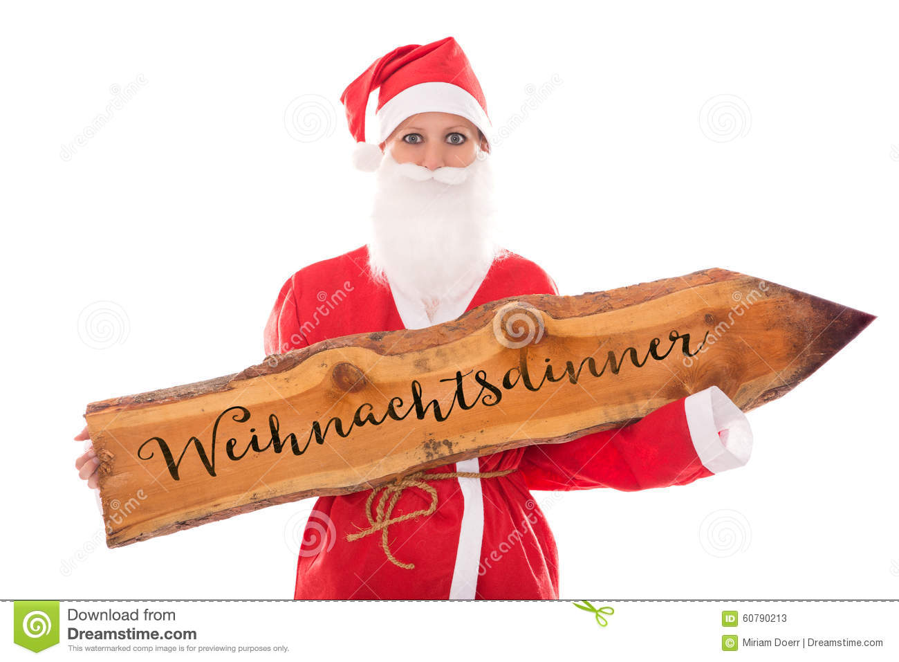 Santa Girl Holding A Wooden Board With German Word, Isolated On ...