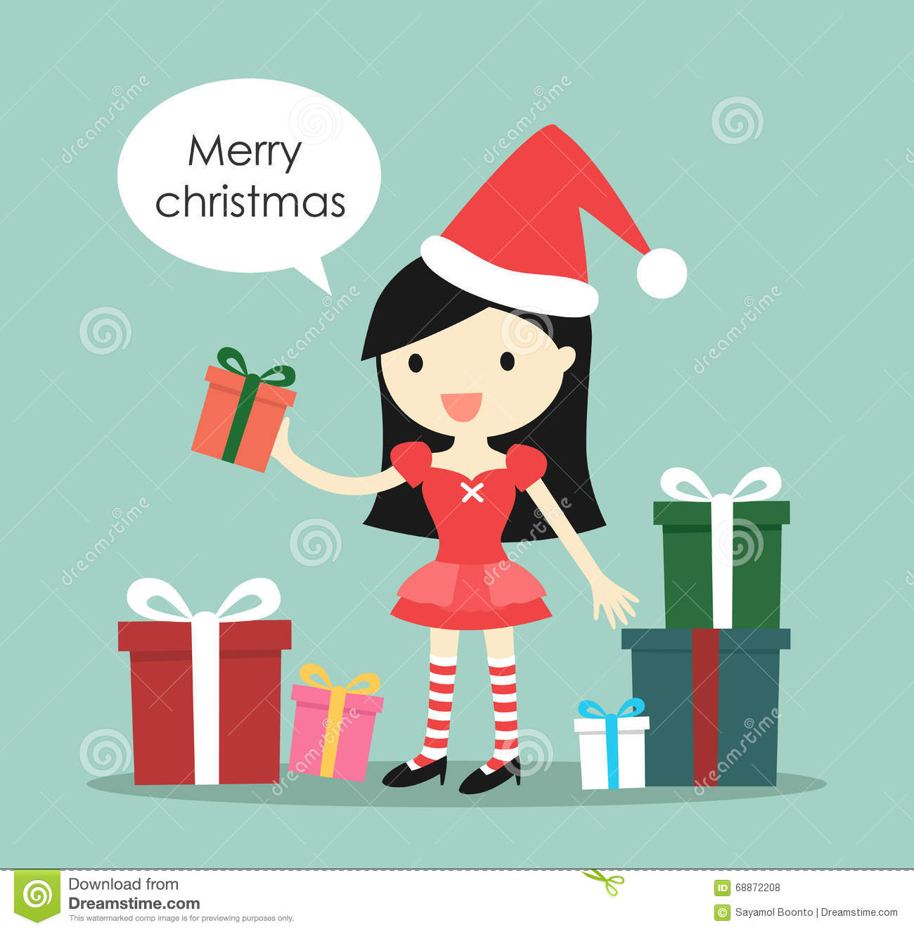 Santa Girl With A Lot Of Gift Boxes And Saying \'Merry Christmas ...