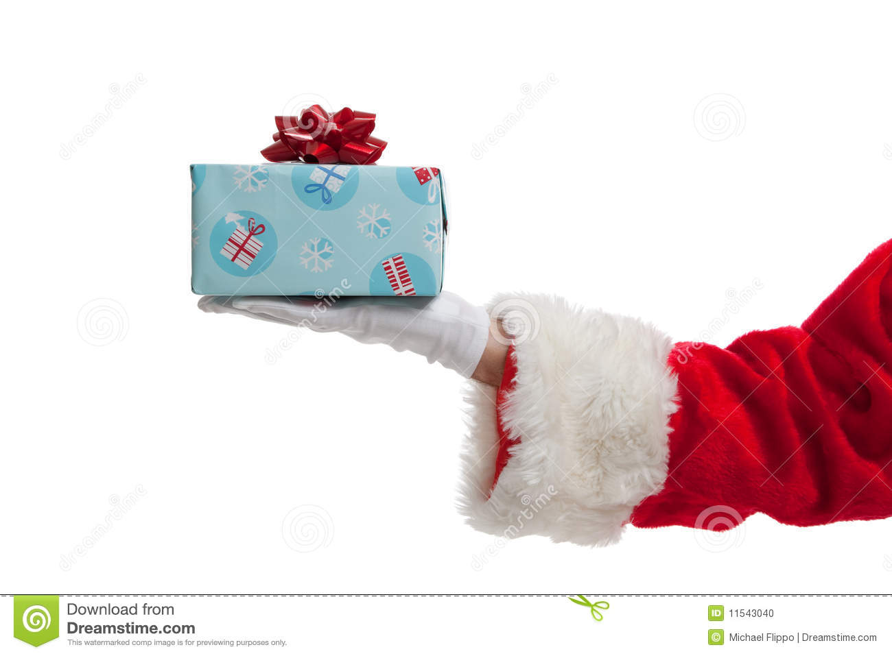 Santa Giving Christmas Presents On White Stock Photo ...