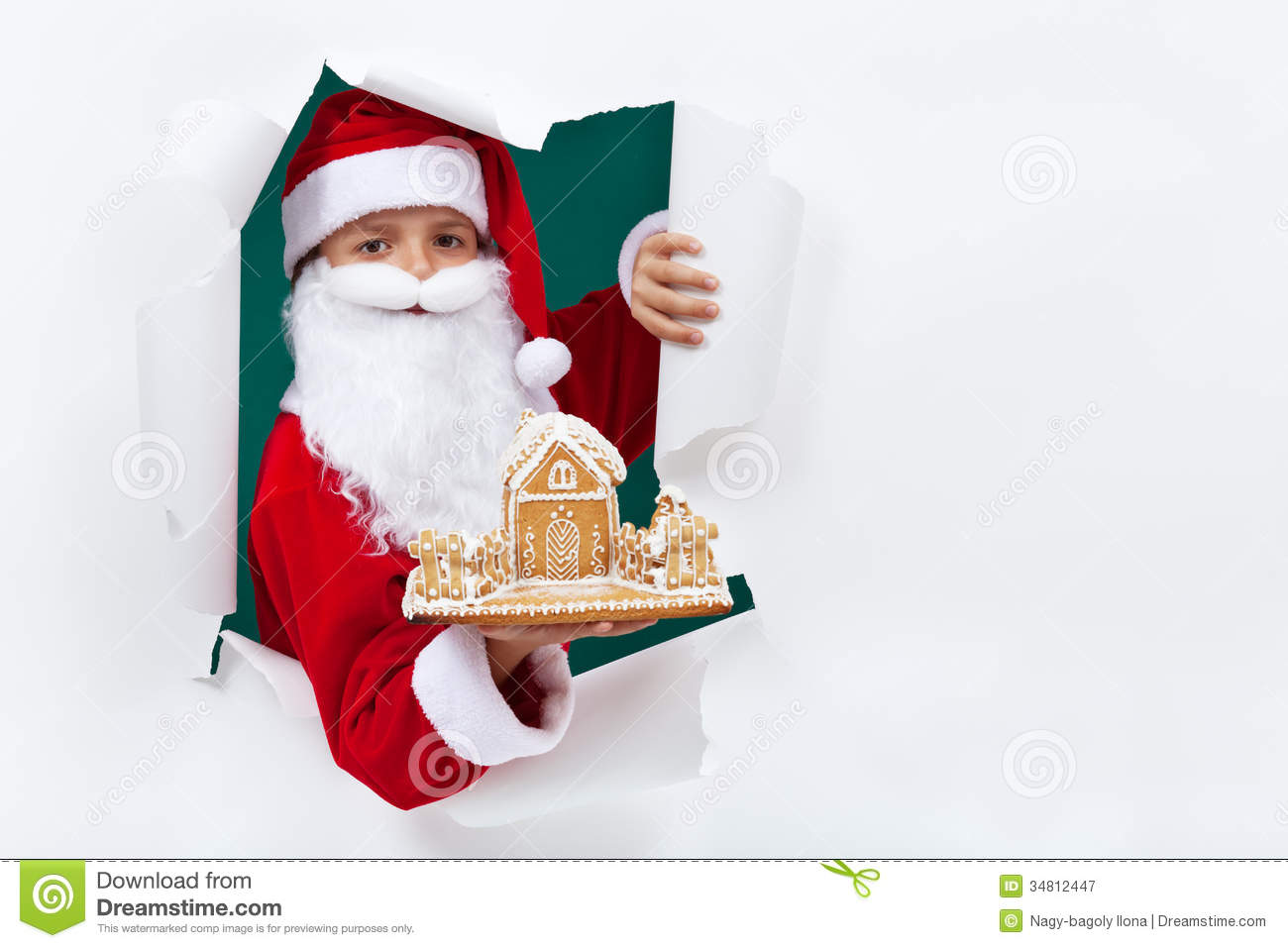 Santa Giving You A Gingerbread Cookie House Stock Image Image Of