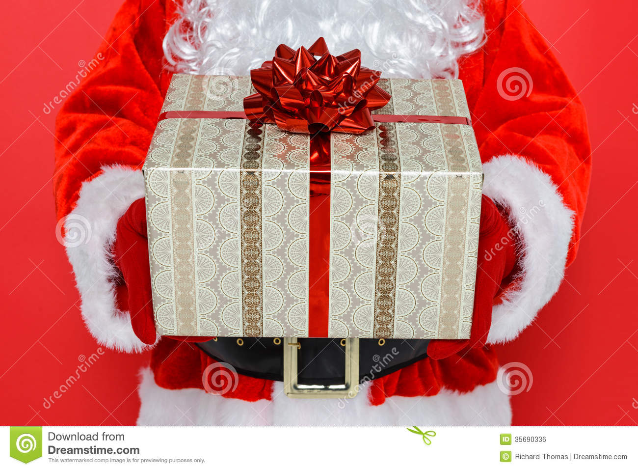 Santa giving you a present stock photo. Image of surprise ...