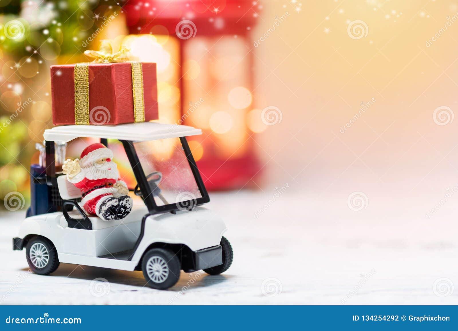 Golf Cart Christmas Decorations.Santa On Golf Car For Christmas Stock Photo Image Of