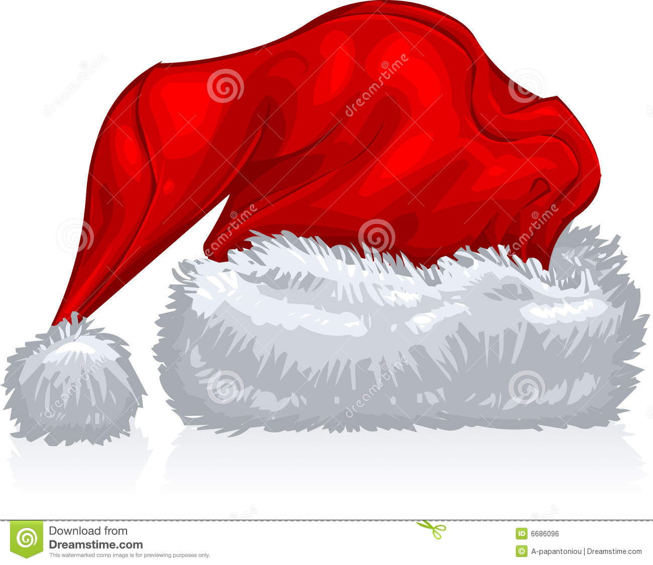 ... art illustration of a red, holiday, Santa hat, in white background