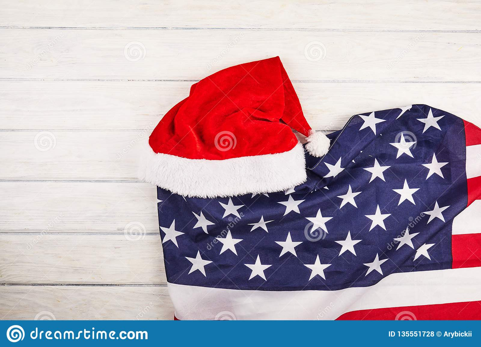 Patriotic Christmas Background.Santa Hat With American Flag Stock Photo Image Of White