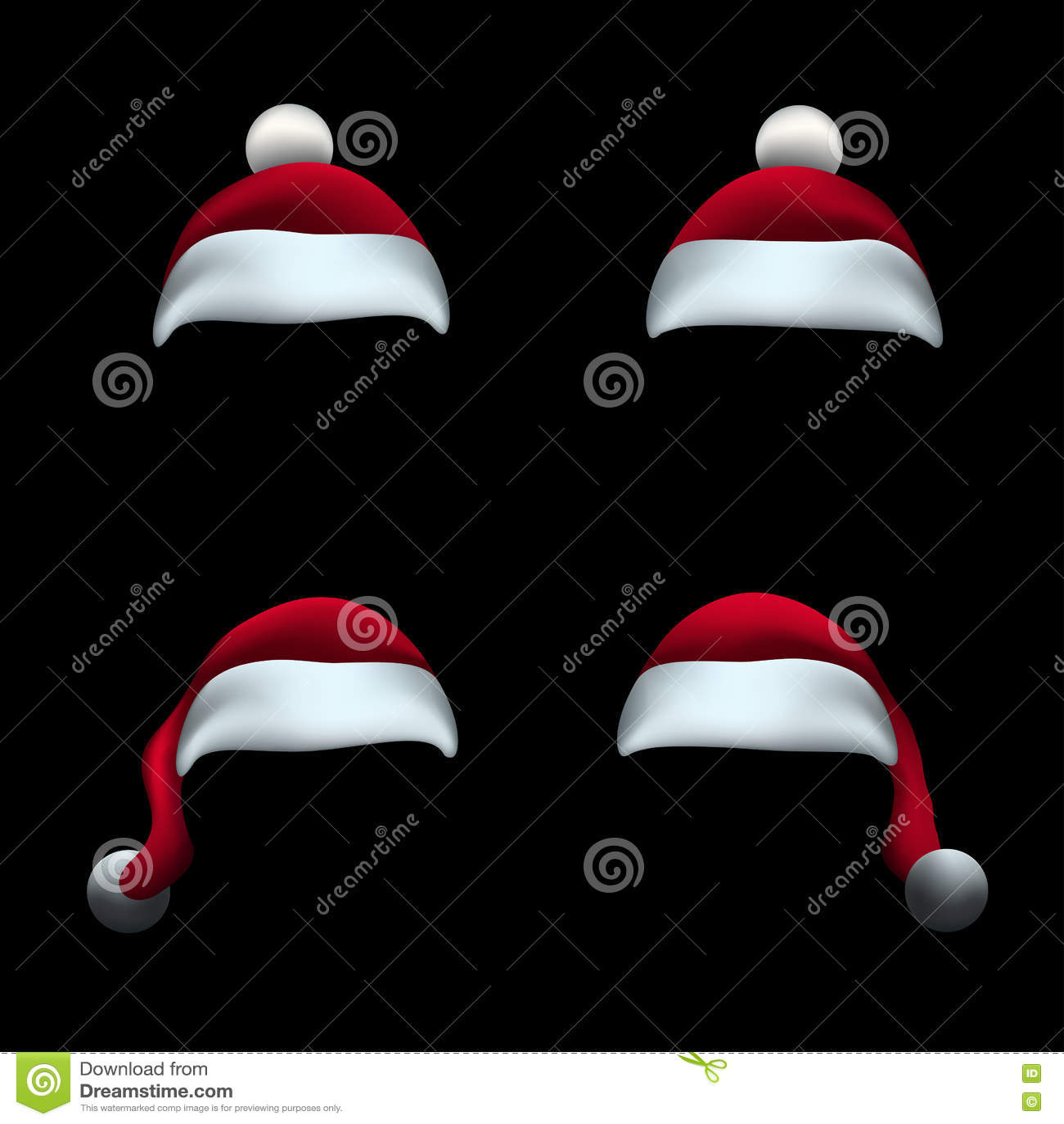 Santa hat black background stock vector. Illustration of headdress ...