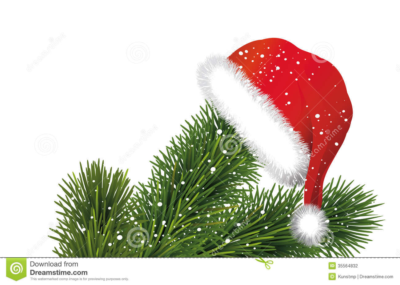 Santa hat on christmas tree branches stock vector