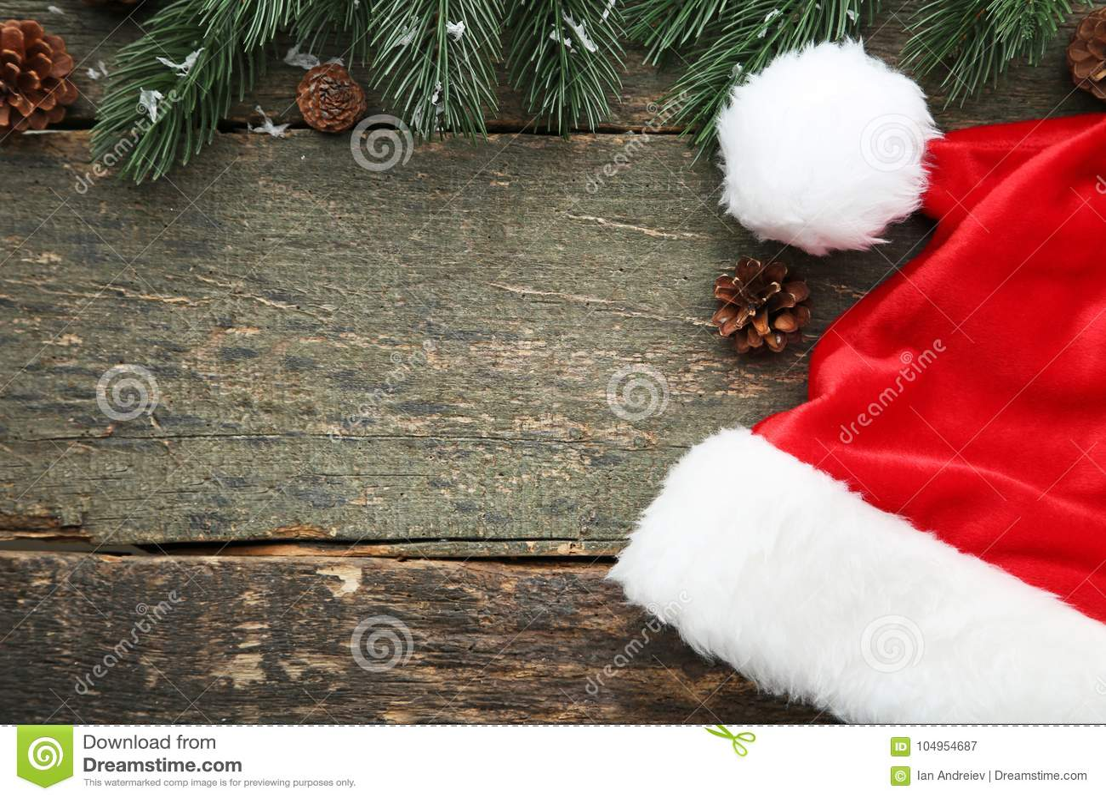 Santa hat with fir-tree branch