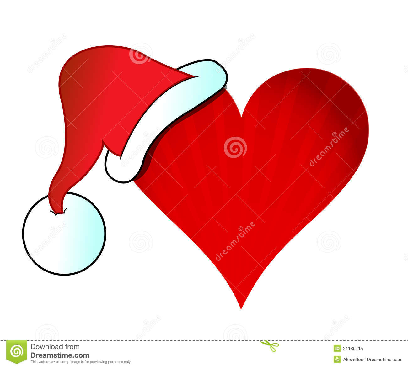 Santa hat heart illustration design