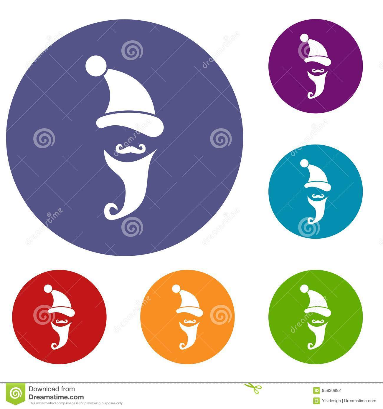 f6f8f2a4 Santa Hat, Mustache And Beard, Simple Style Stock Vector ...