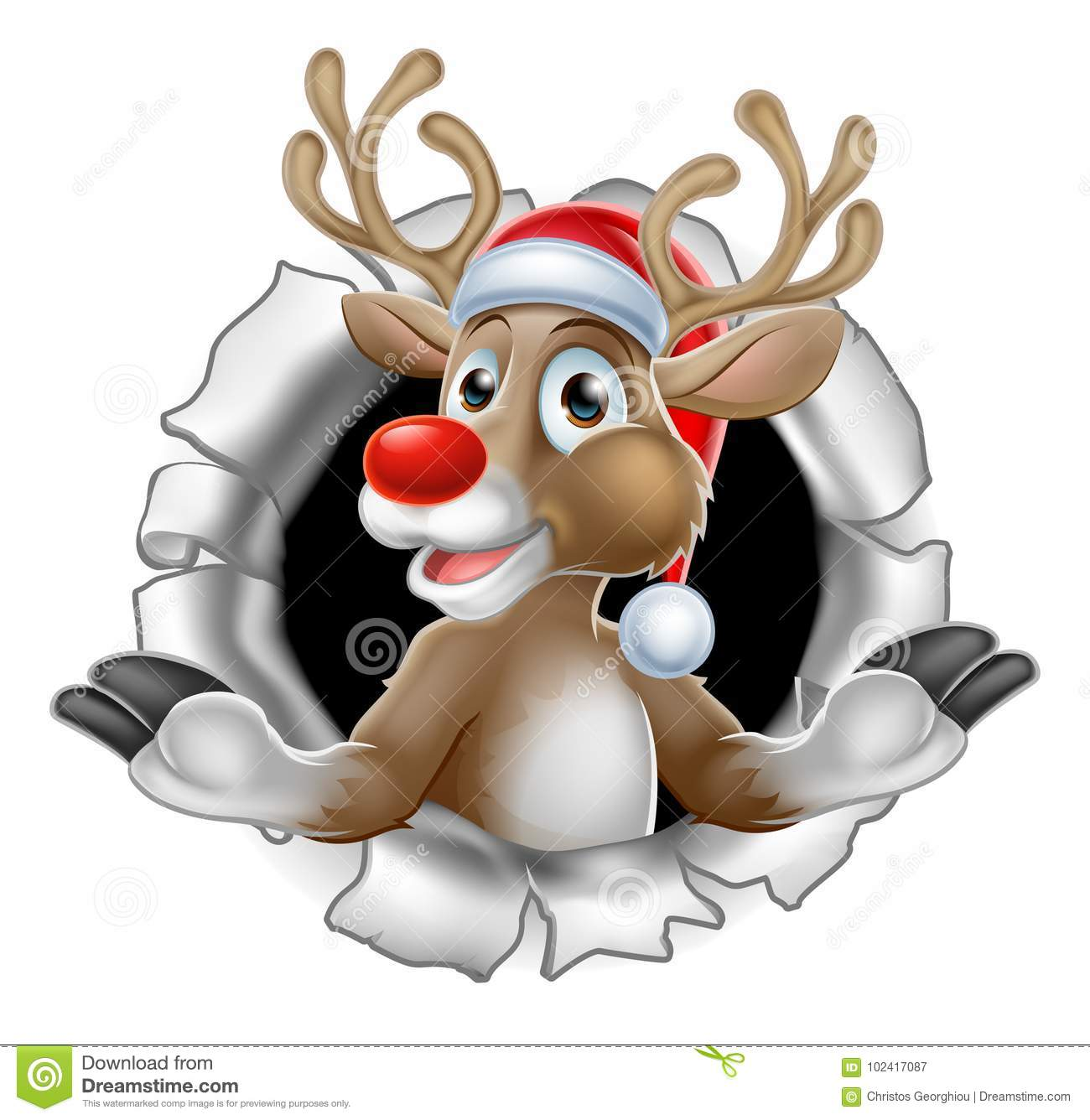 9e1f5e916a1c0 A Christmas illustration of Reindeer in Santa hat tearing through the  background