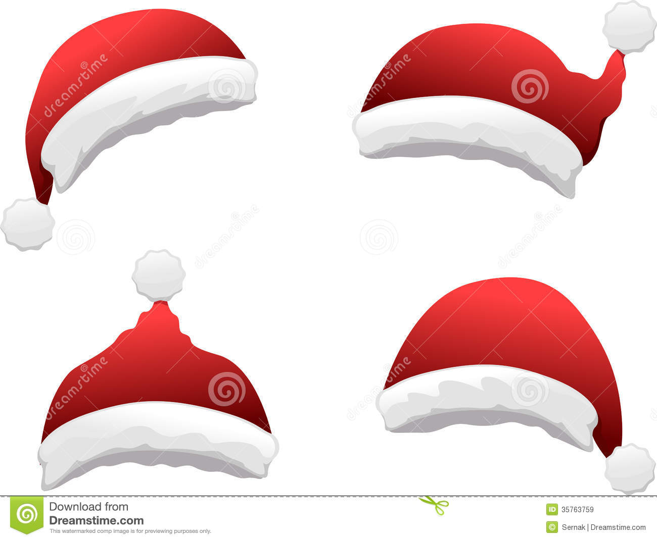 Santa hat set stock vector image of ornament happy