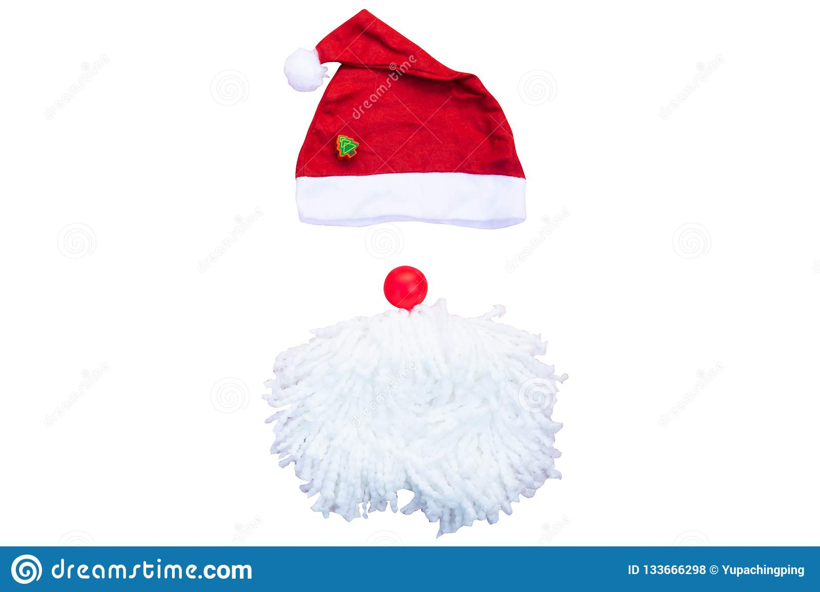 Santa hats with moustache. claus hat red