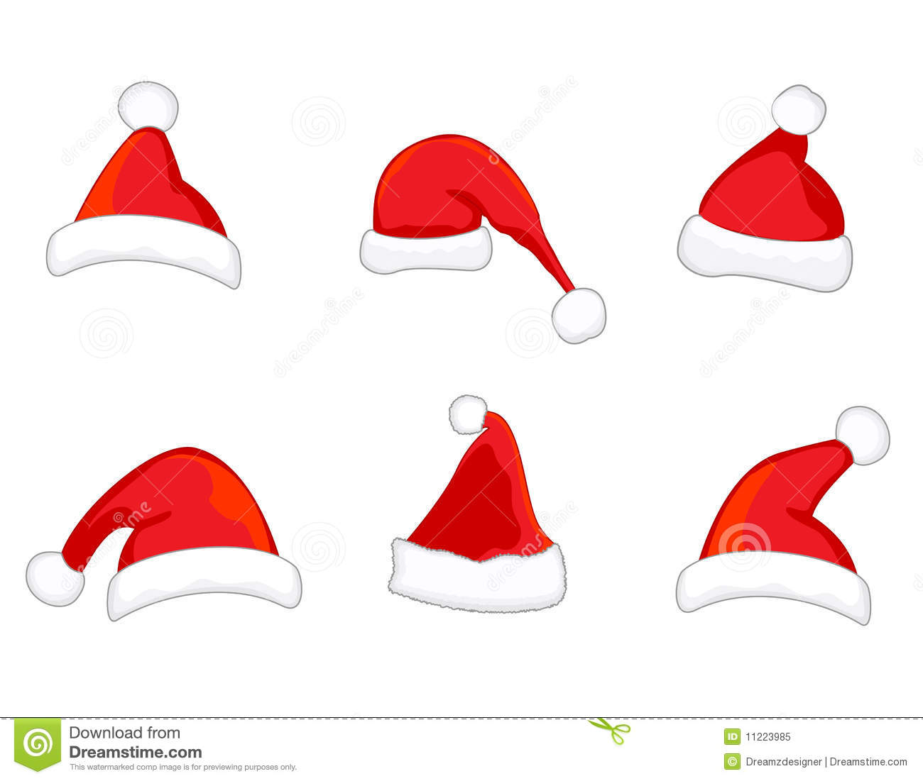 Santa hats vector stock image of illustration