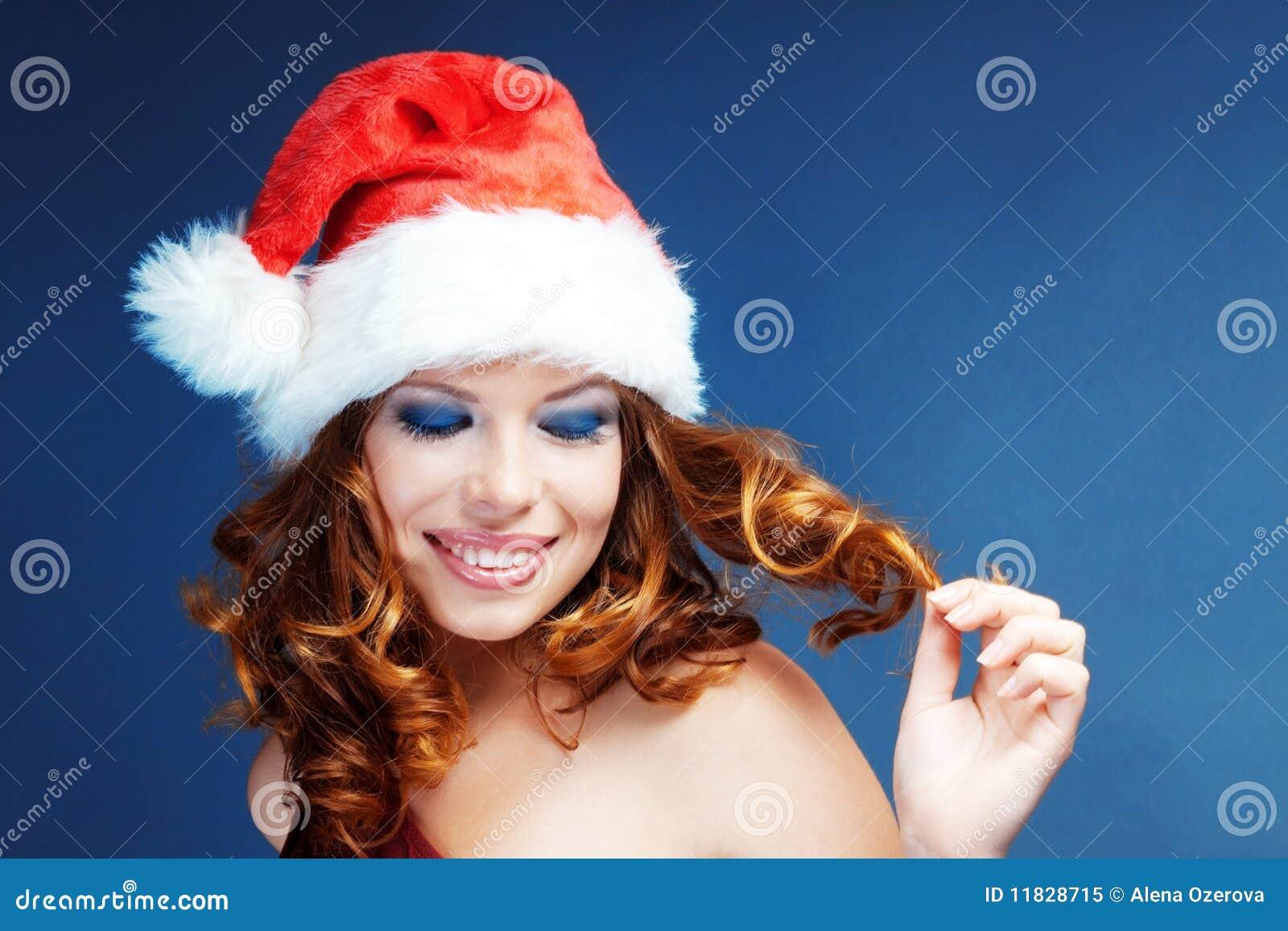 Santa helper stock image of grin claus female