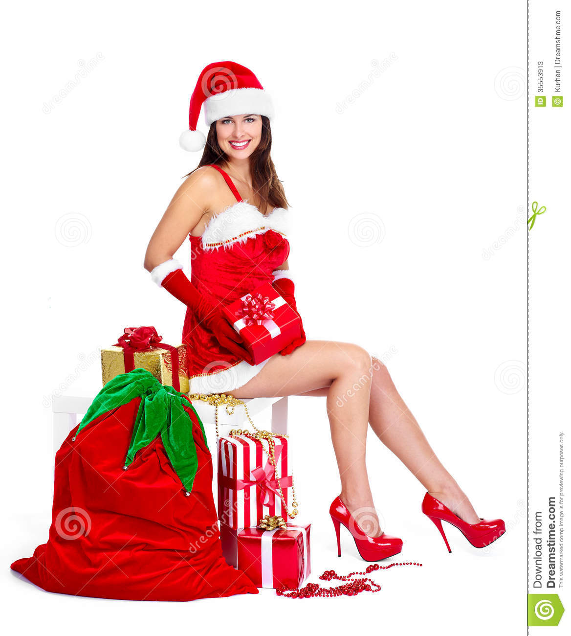 Santa Helper Christmas Girl With A Presents. Stock Photos