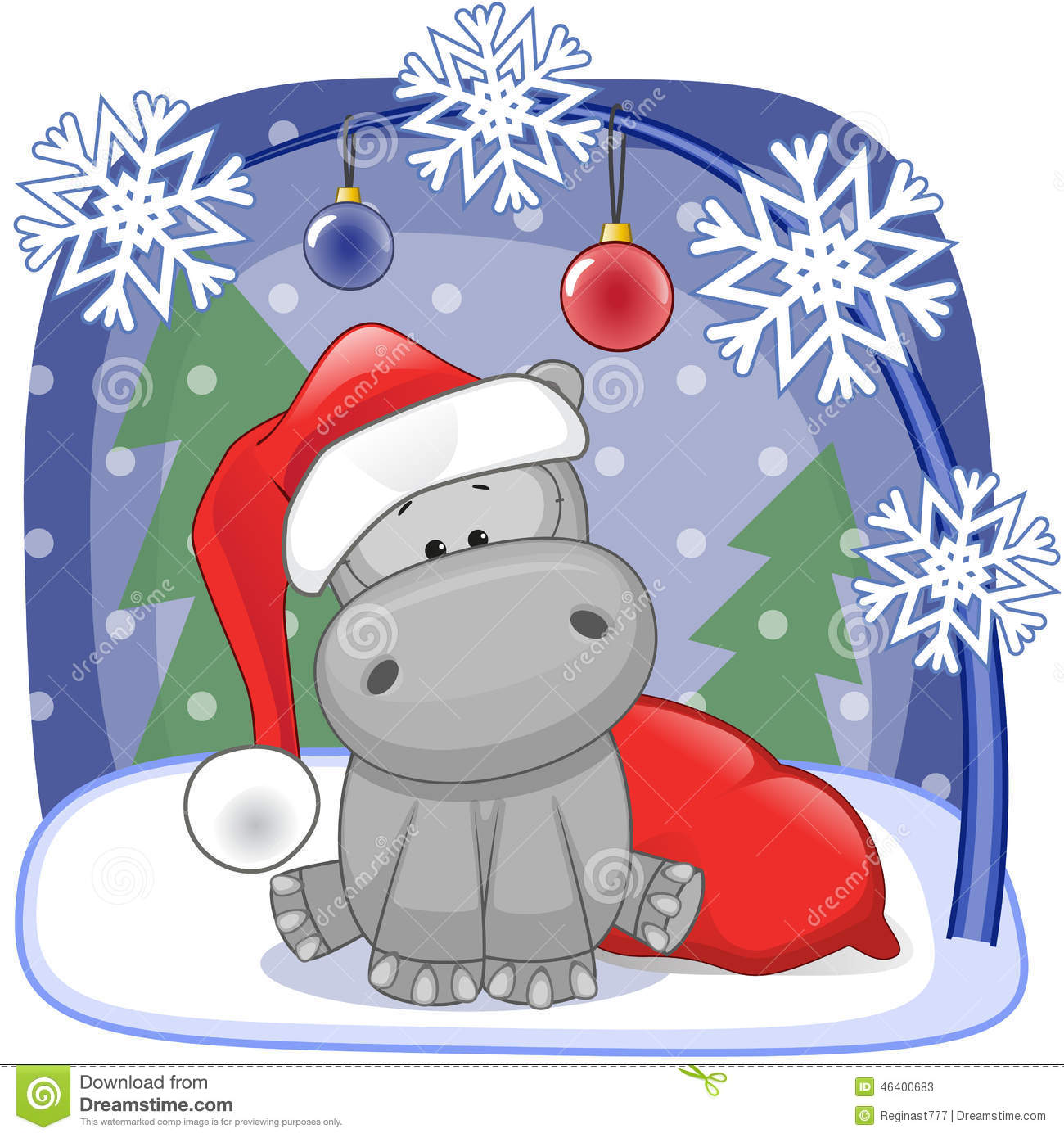 Santa Hippo stock vector. Illustration of frame, greeting - 46400683